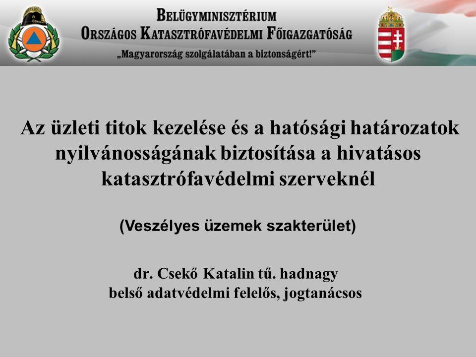 dr. Csekő Katalin tű. hadnagy belső adatvédelmi felelős, jogtanácsos