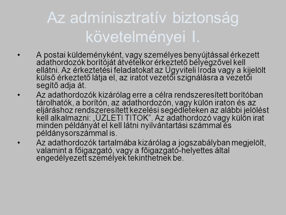 Az adminisztratív biztonság követelményei I.