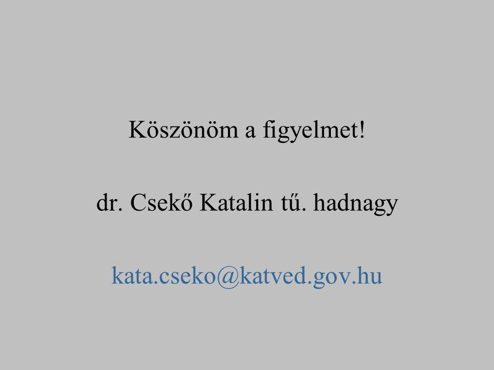 Köszönöm a figyelmet. dr. Csekő Katalin tű. hadnagy kata. cseko@katved