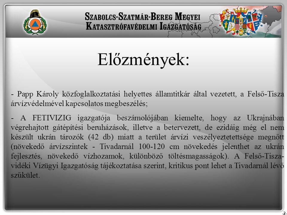Előzmények: - Papp Károly közfoglalkoztatási helyettes államtitkár által vezetett, a Felső-Tisza árvízvédelmével kapcsolatos megbeszélés;