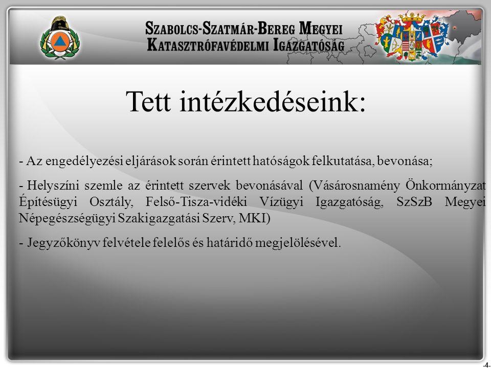 Tett intézkedéseink: Az engedélyezési eljárások során érintett hatóságok felkutatása, bevonása;
