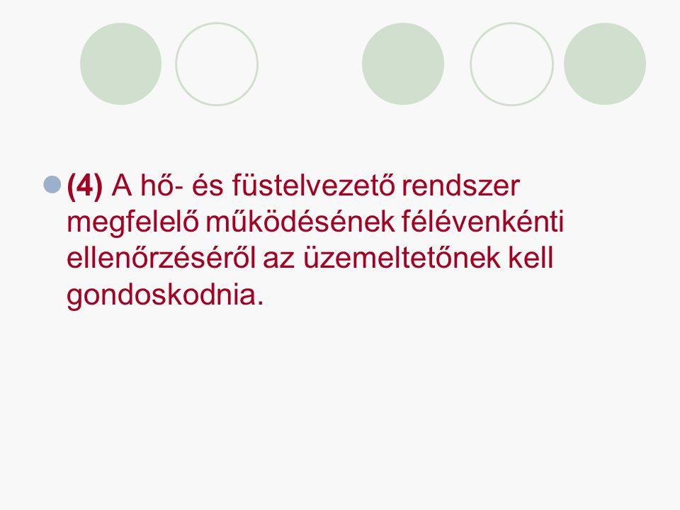 (4) A hő‐ és füstelvezető rendszer megfelelő működésének félévenkénti ellenőrzéséről az üzemeltetőnek kell gondoskodnia.