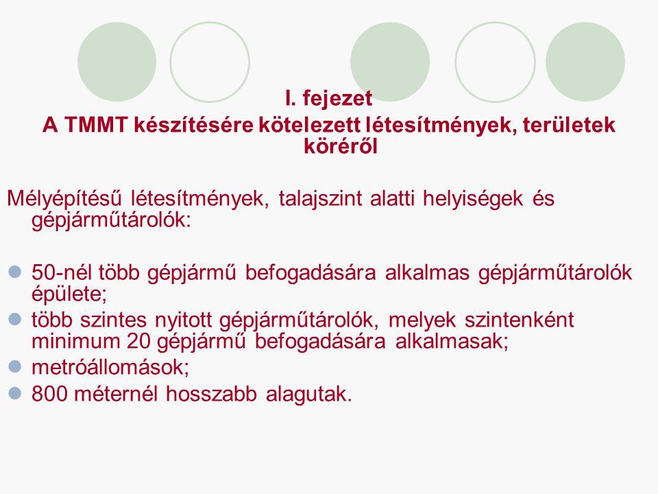 A TMMT készítésére kötelezett létesítmények, területek köréről