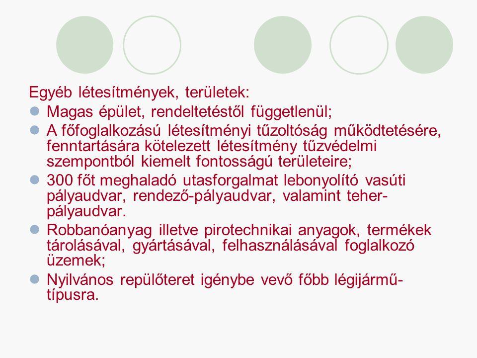 Egyéb létesítmények, területek: