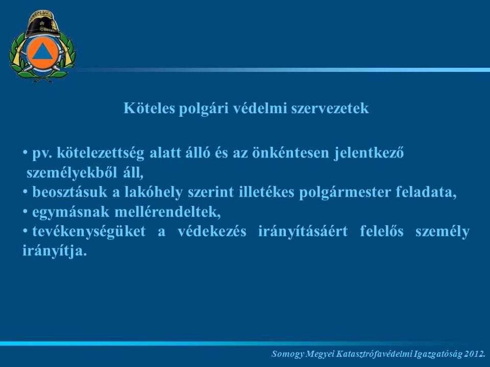 Köteles polgári védelmi szervezetek