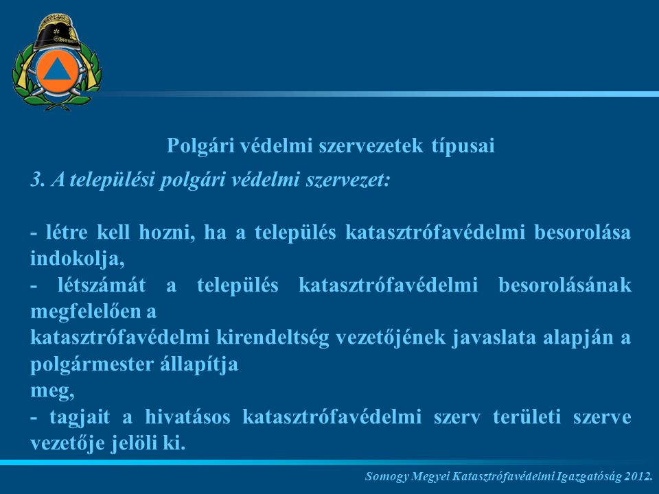 Polgári védelmi szervezetek típusai
