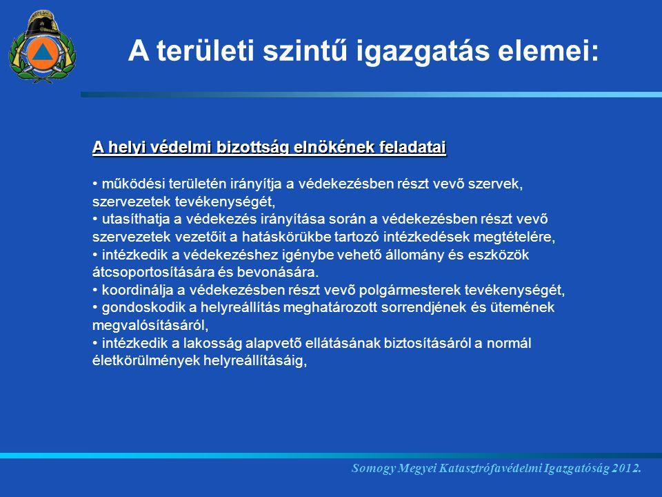 A területi szintű igazgatás elemei: