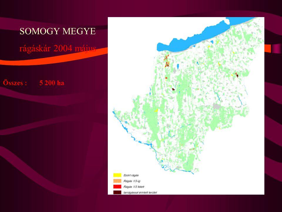 SOMOGY MEGYE rágáskár 2004 május Összes : 5 200 ha