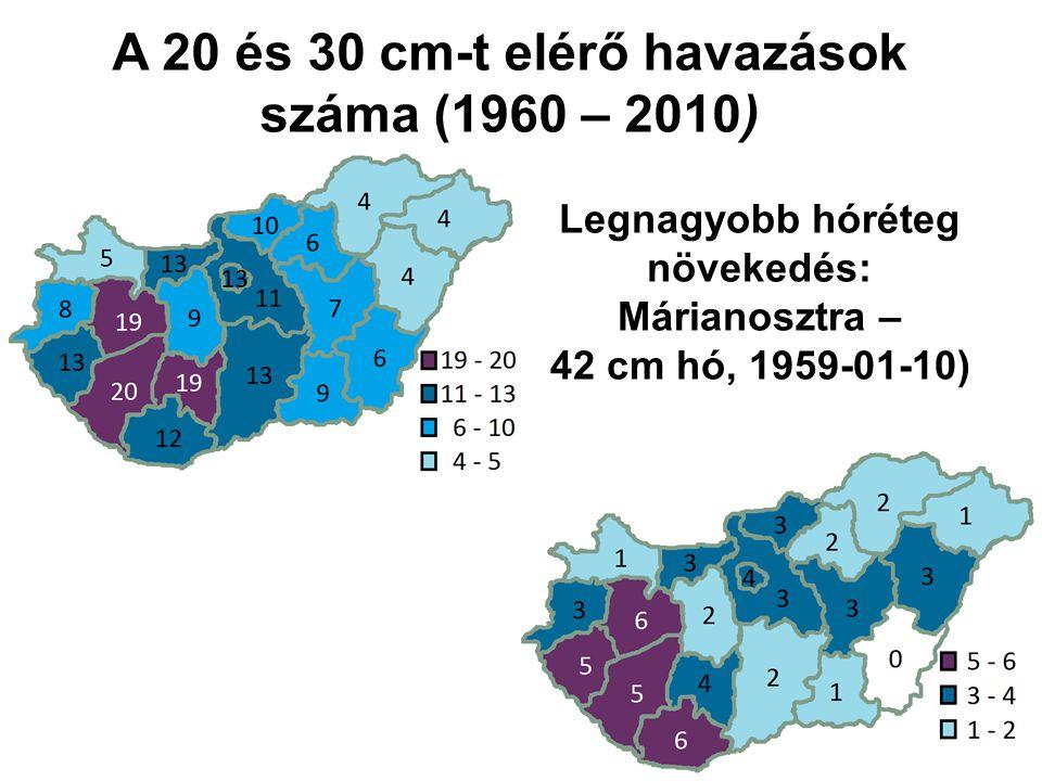 A 20 és 30 cm-t elérő havazások száma (1960 – 2010)