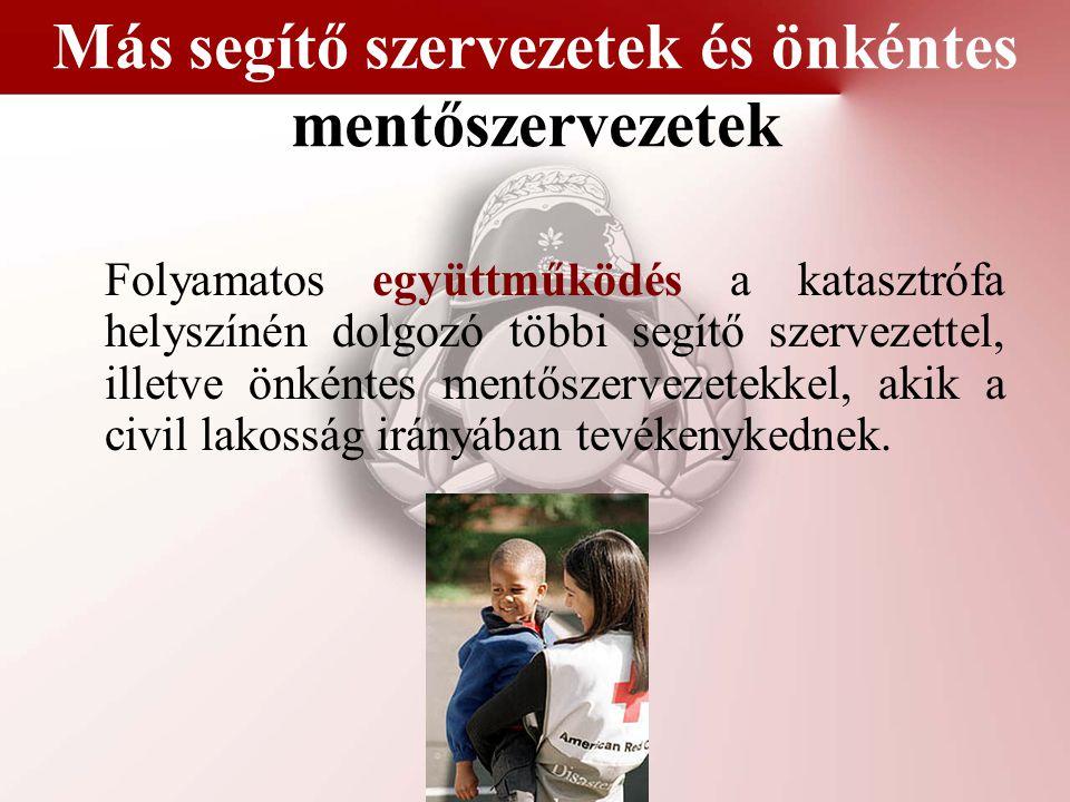 Más segítő szervezetek és önkéntes mentőszervezetek