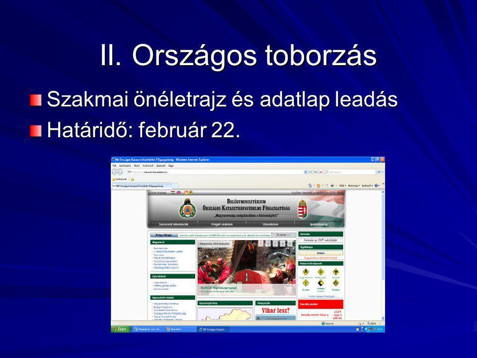II. Országos toborzás Szakmai önéletrajz és adatlap leadás