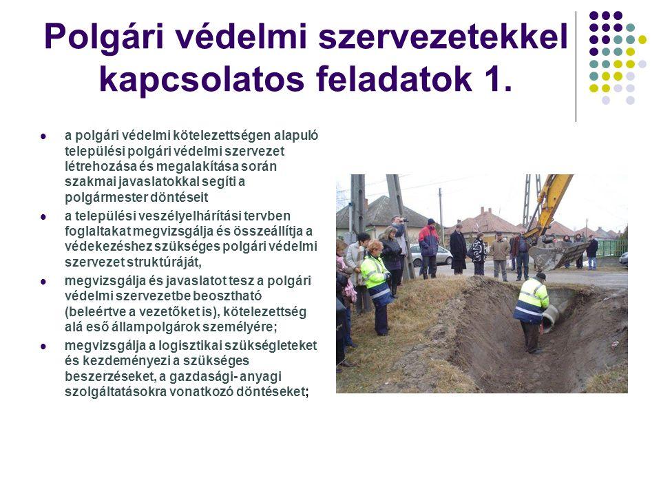 Polgári védelmi szervezetekkel kapcsolatos feladatok 1.