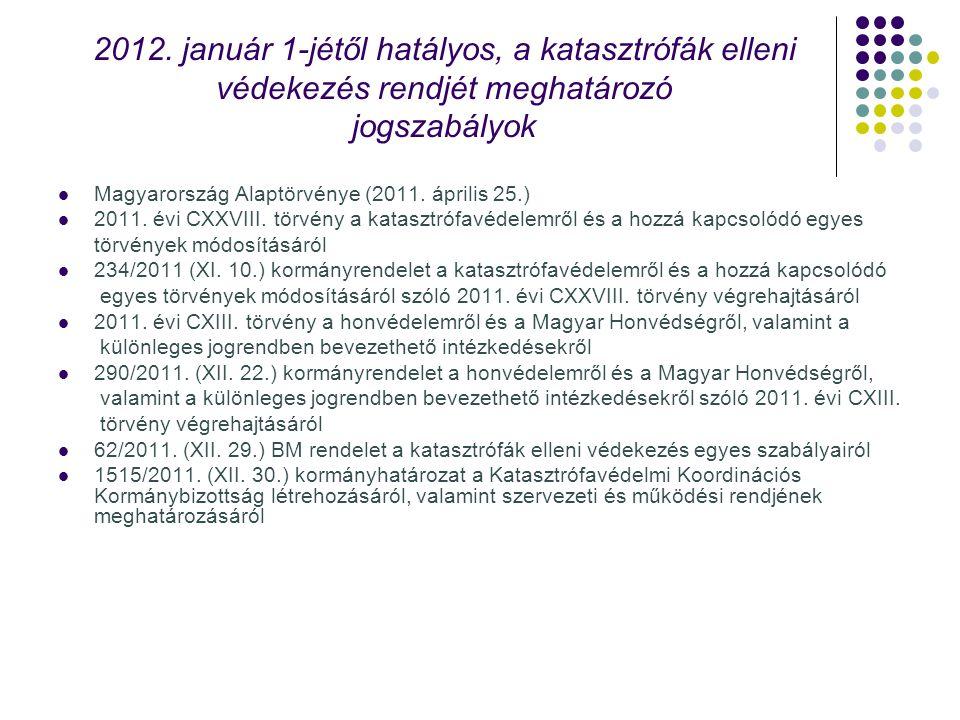 2012. január 1-jétől hatályos, a katasztrófák elleni védekezés rendjét meghatározó jogszabályok