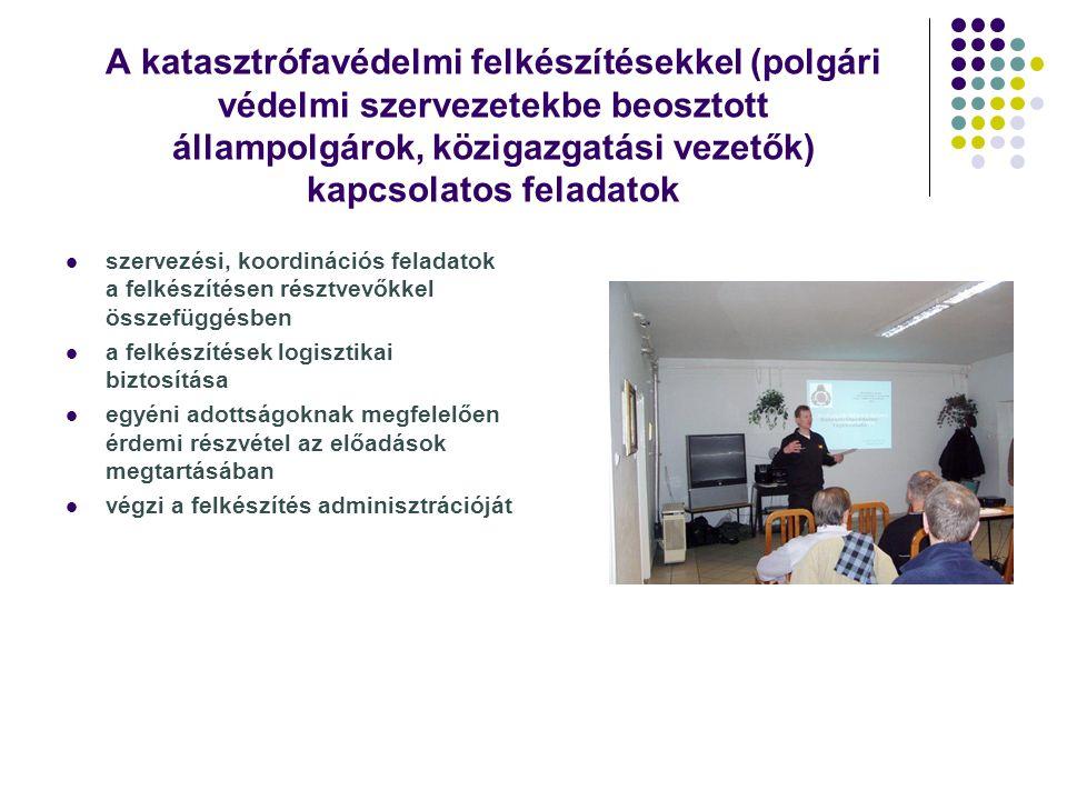 A katasztrófavédelmi felkészítésekkel (polgári védelmi szervezetekbe beosztott állampolgárok, közigazgatási vezetők) kapcsolatos feladatok