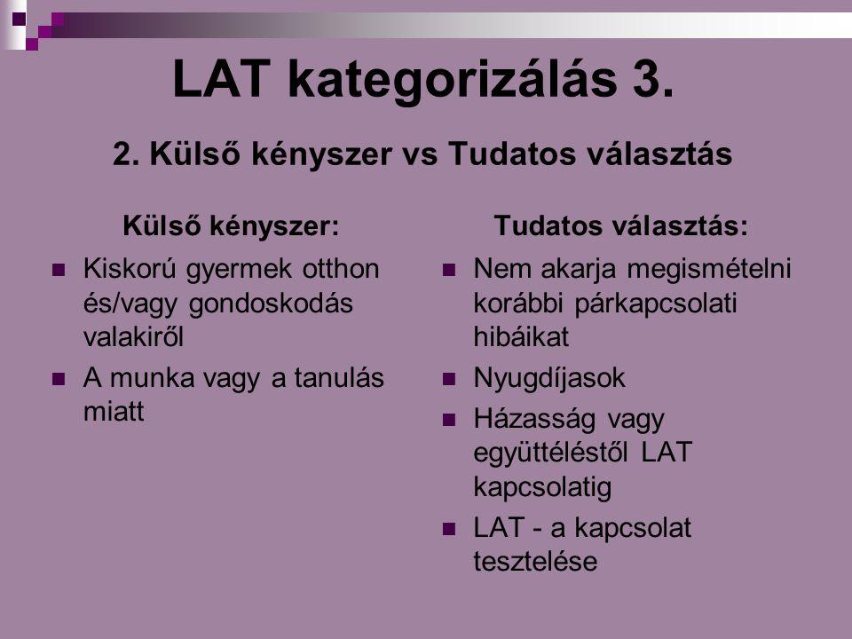LAT kategorizálás 3. 2. Külső kényszer vs Tudatos választás