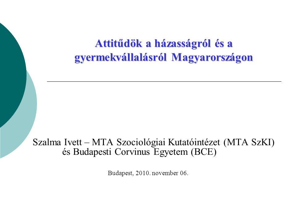 Attitűdök a házasságról és a gyermekvállalásról Magyarországon