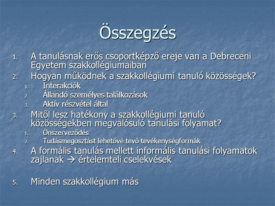 Összegzés A tanulásnak erős csoportképző ereje van a Debreceni Egyetem szakkollégiumaiban. Hogyan működnek a szakkollégiumi tanuló közösségek