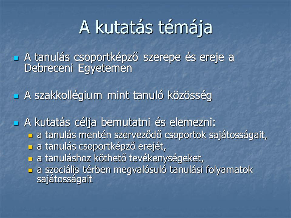 A kutatás témája A tanulás csoportképző szerepe és ereje a Debreceni Egyetemen. A szakkollégium mint tanuló közösség.