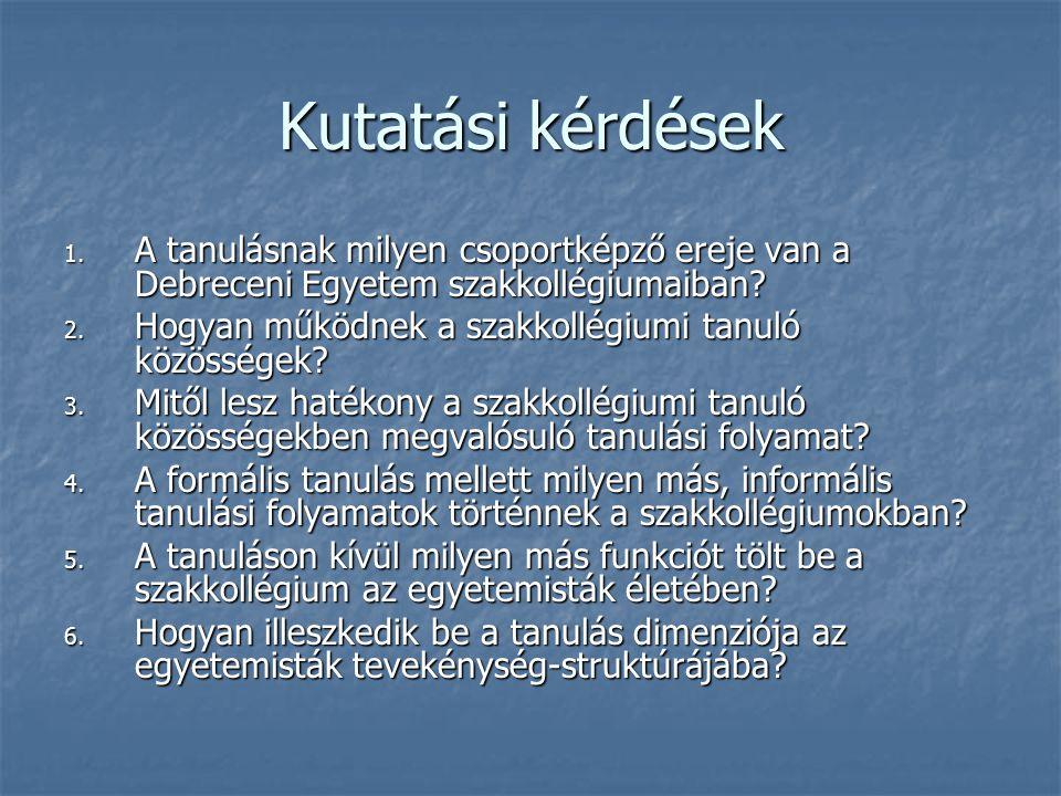 Kutatási kérdések A tanulásnak milyen csoportképző ereje van a Debreceni Egyetem szakkollégiumaiban