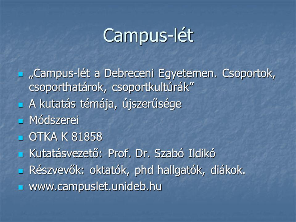 """Campus-lét """"Campus-lét a Debreceni Egyetemen. Csoportok, csoporthatárok, csoportkultúrák A kutatás témája, újszerűsége."""