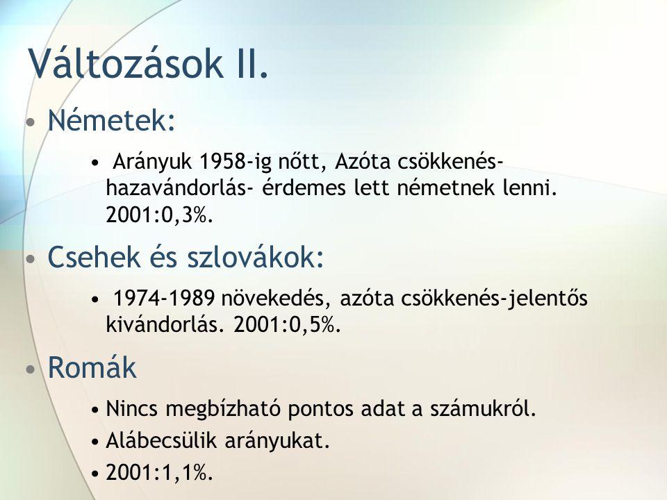 Változások II. Németek: Csehek és szlovákok: Romák