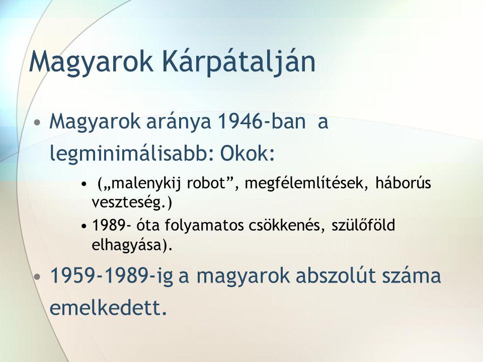 Magyarok Kárpátalján Magyarok aránya 1946-ban a legminimálisabb: Okok: