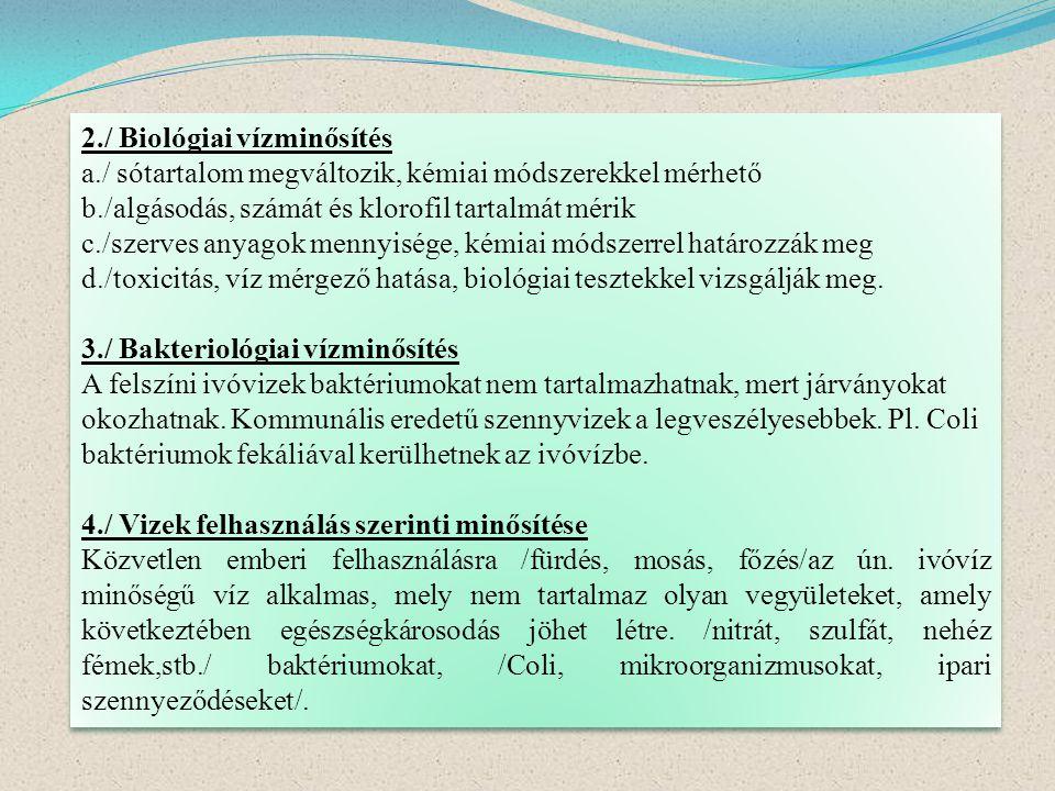 2./ Biológiai vízminősítés
