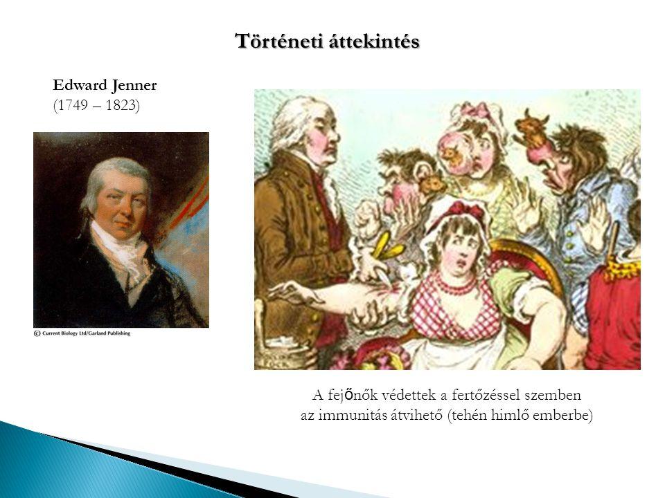 Történeti áttekintés Edward Jenner (1749 – 1823)