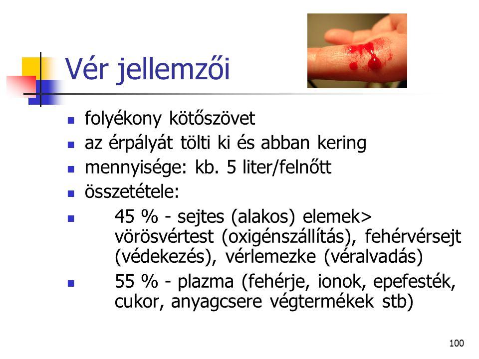 Vér jellemzői folyékony kötőszövet