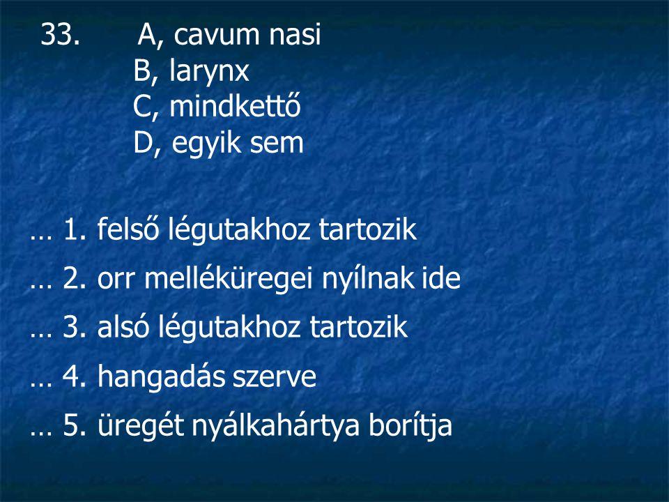 33. A, cavum nasi B, larynx C, mindkettő D, egyik sem