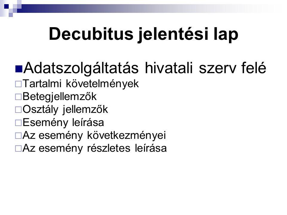 Decubitus jelentési lap