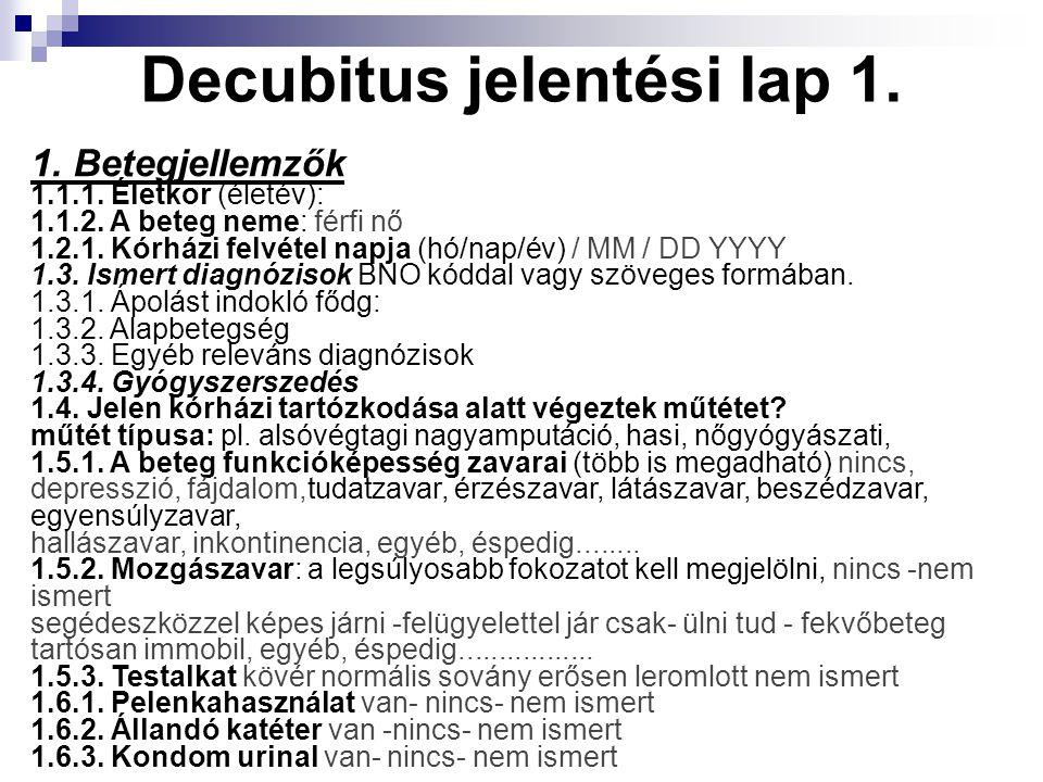 Decubitus jelentési lap 1.