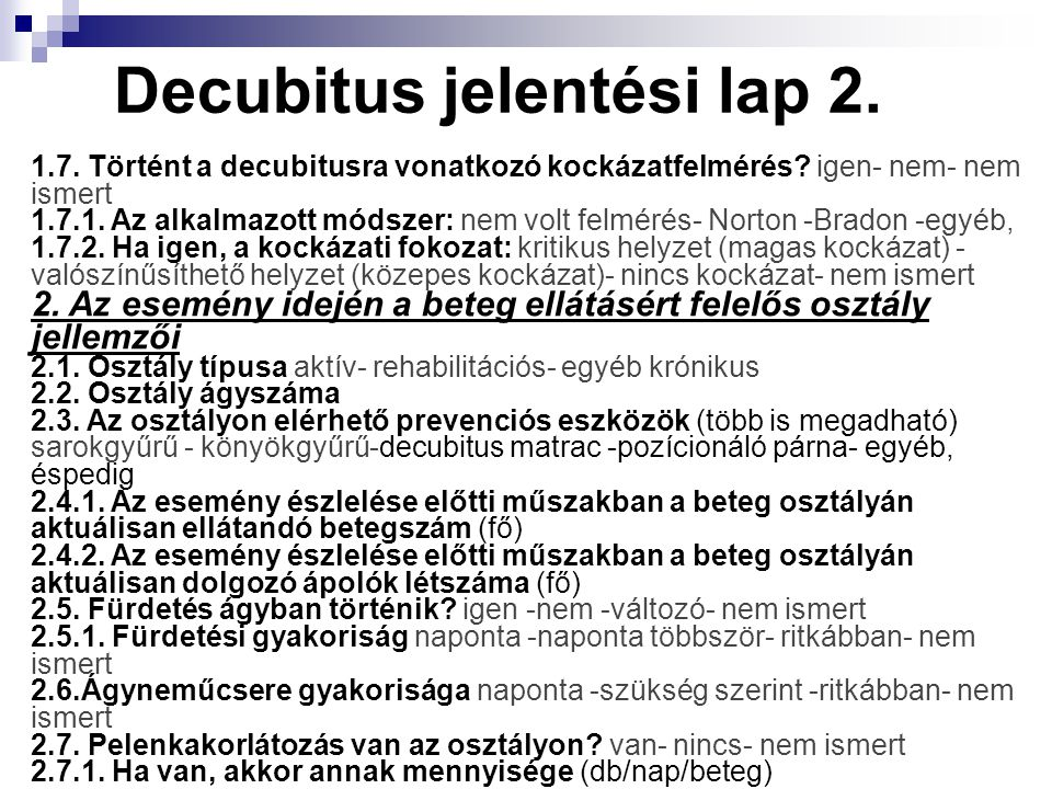 Decubitus jelentési lap 2.