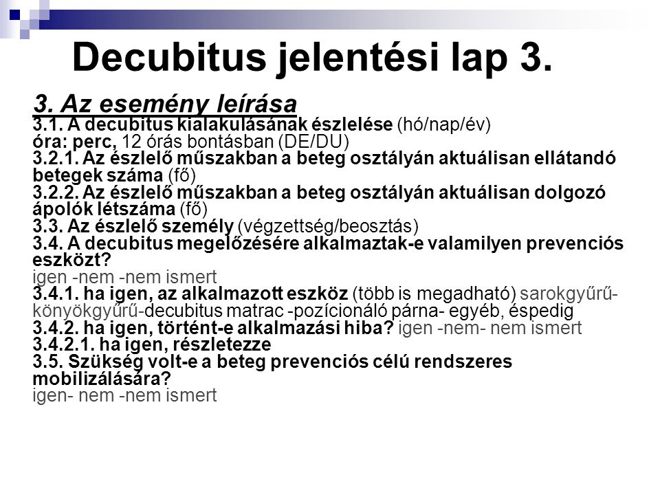 Decubitus jelentési lap 3.