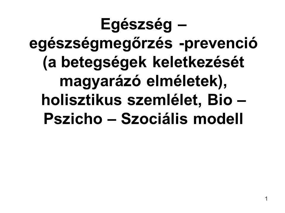 Egészség – egészségmegőrzés -prevenció (a betegségek keletkezését magyarázó elméletek), holisztikus szemlélet, Bio – Pszicho – Szociális modell