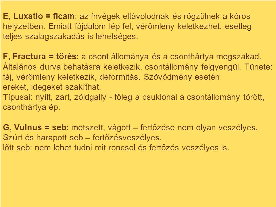 E, Luxatio = ficam: az ínvégek eltávolodnak és rögzülnek a kóros helyzetben.