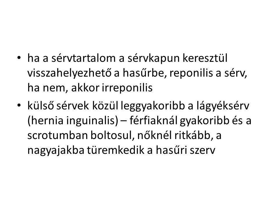 ha a sérvtartalom a sérvkapun keresztül visszahelyezhető a hasűrbe, reponilis a sérv, ha nem, akkor irreponilis