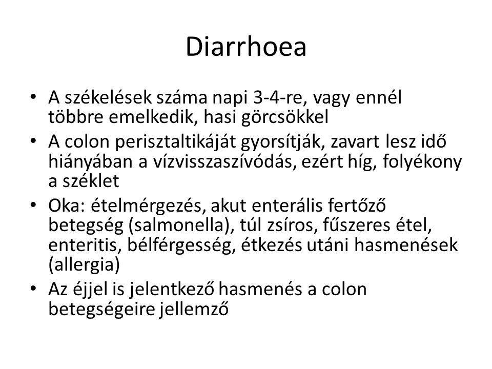 Diarrhoea A székelések száma napi 3-4-re, vagy ennél többre emelkedik, hasi görcsökkel.