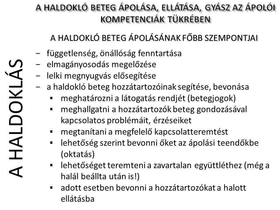A HALDOKLÓ BETEG ÁPOLÁSÁNAK FŐBB SZEMPONTJAI