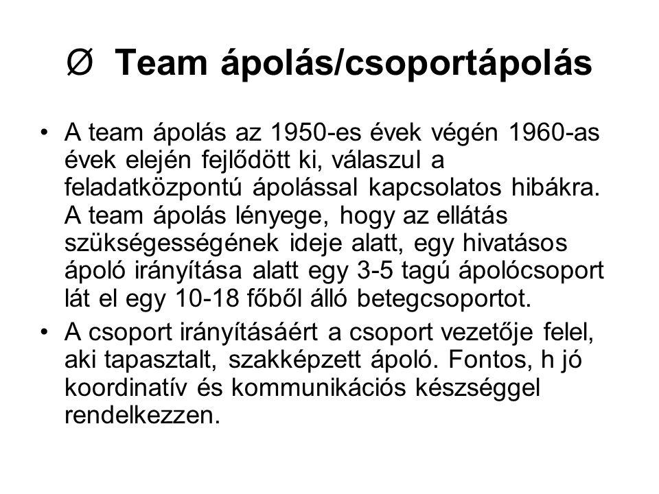 Ø Team ápolás/csoportápolás