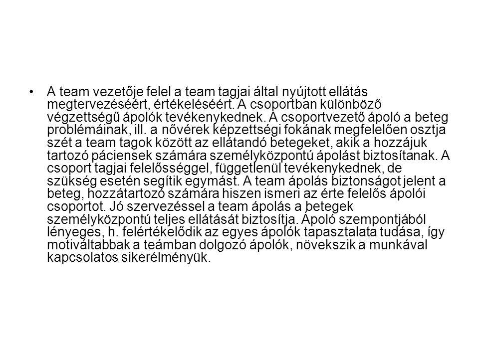 A team vezetője felel a team tagjai által nyújtott ellátás megtervezéséért, értékeléséért.