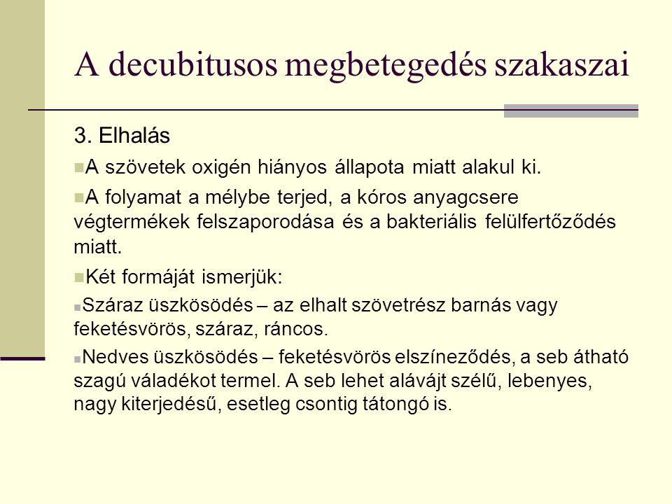 A decubitusos megbetegedés szakaszai