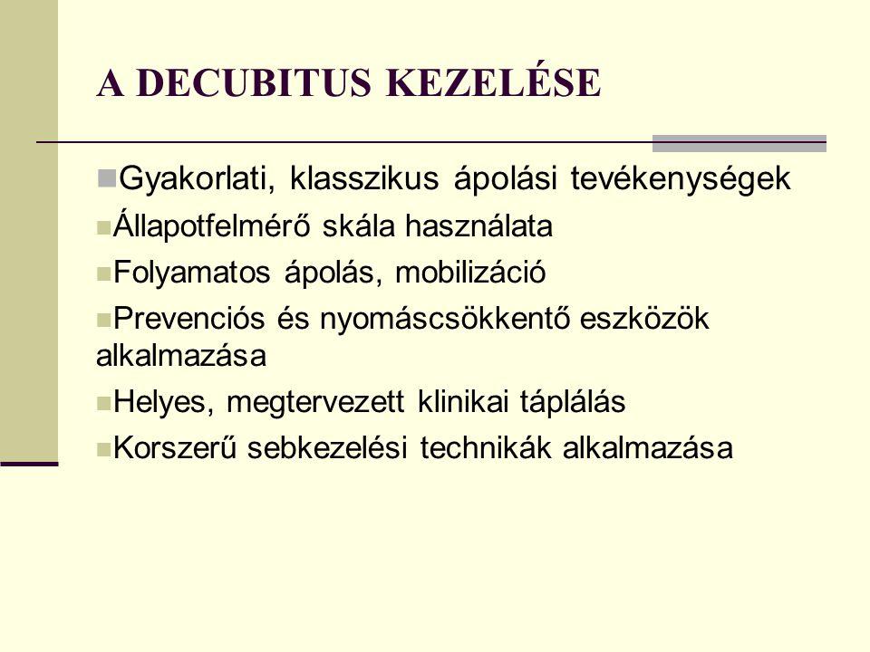 A DECUBITUS KEZELÉSE Gyakorlati, klasszikus ápolási tevékenységek