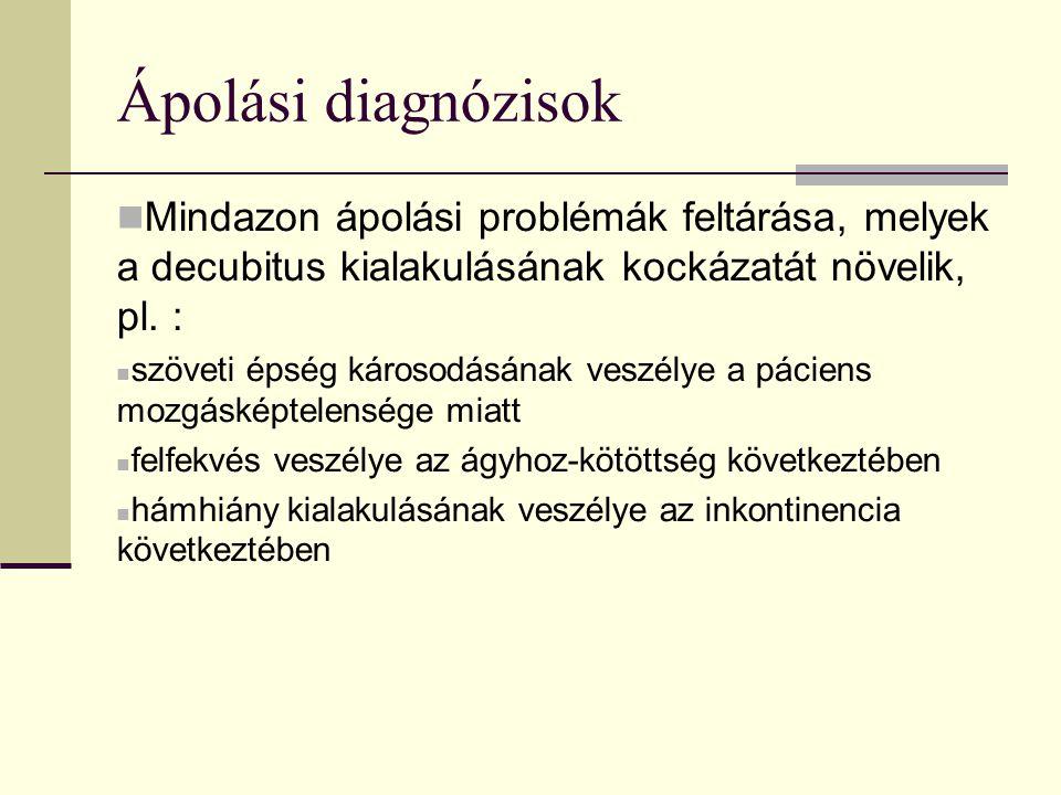 Ápolási diagnózisok Mindazon ápolási problémák feltárása, melyek a decubitus kialakulásának kockázatát növelik, pl. :