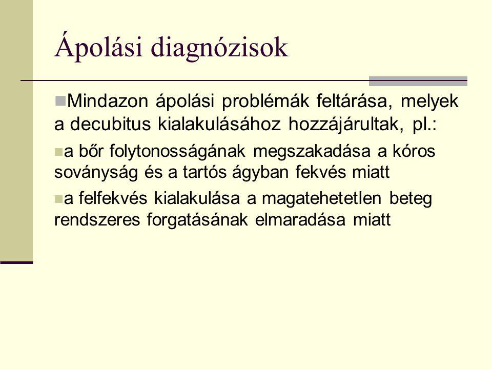 Ápolási diagnózisok Mindazon ápolási problémák feltárása, melyek a decubitus kialakulásához hozzájárultak, pl.: