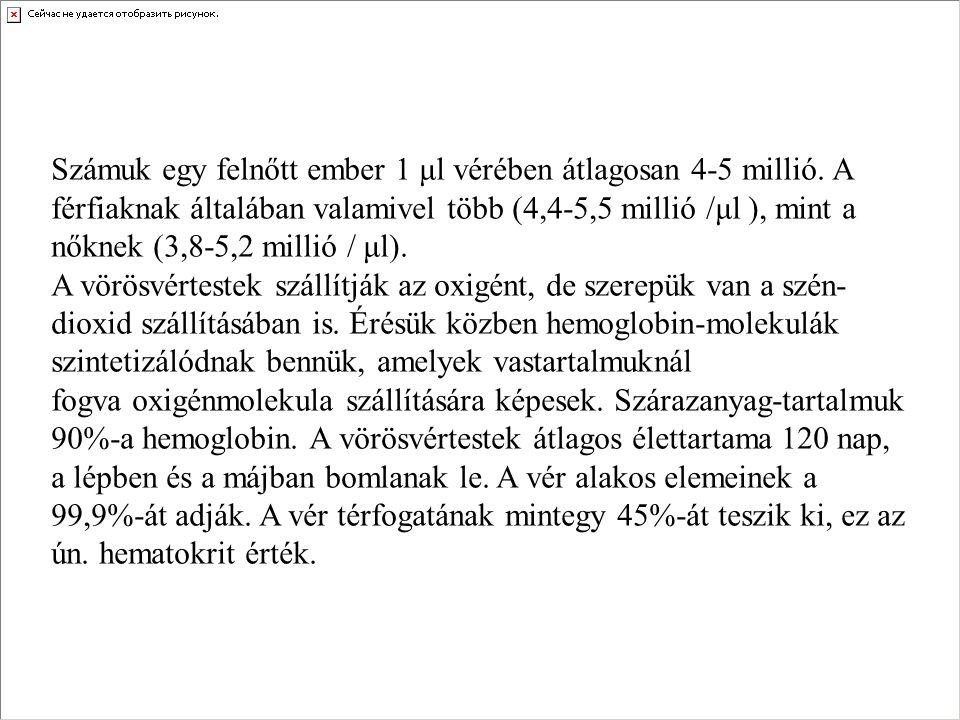 Számuk egy felnőtt ember 1 μl vérében átlagosan 4-5 millió