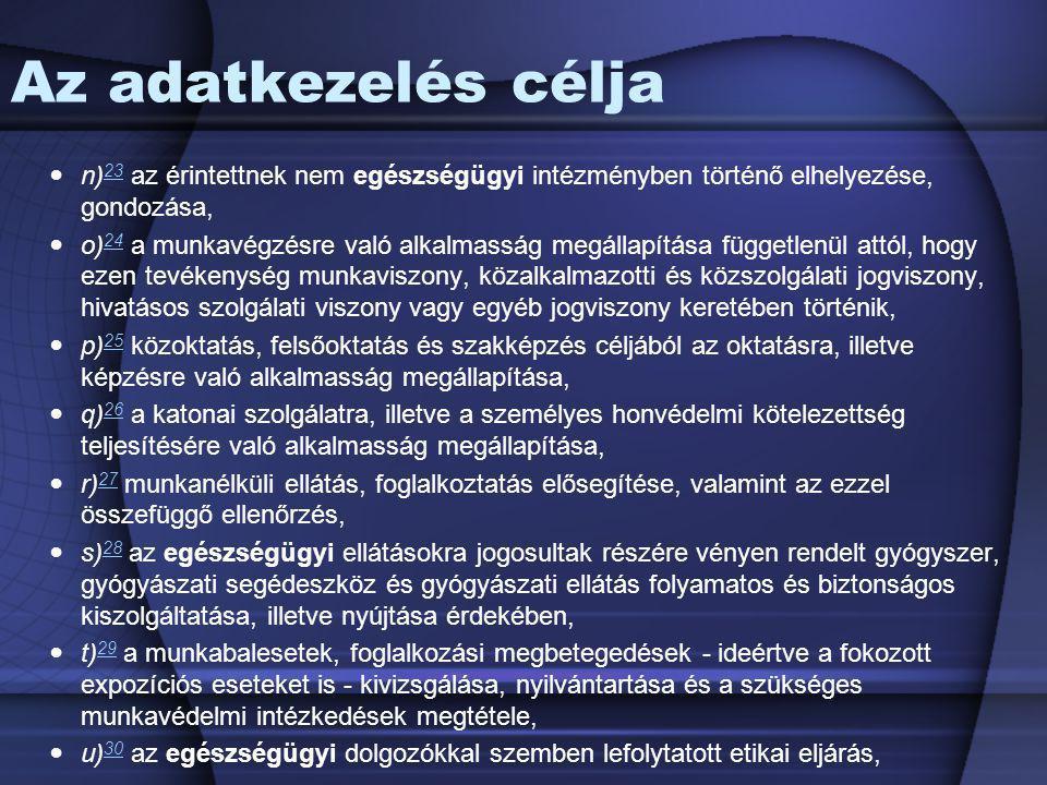 Az adatkezelés célja n)23 az érintettnek nem egészségügyi intézményben történő elhelyezése, gondozása,