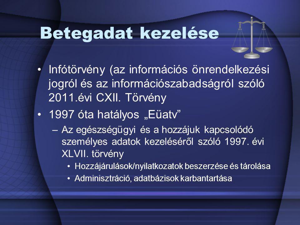 Betegadat kezelése Infótörvény (az információs önrendelkezési jogról és az információszabadságról szóló 2011.évi CXII. Törvény.