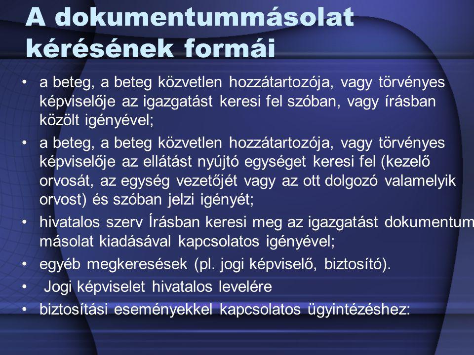 A dokumentummásolat kérésének formái