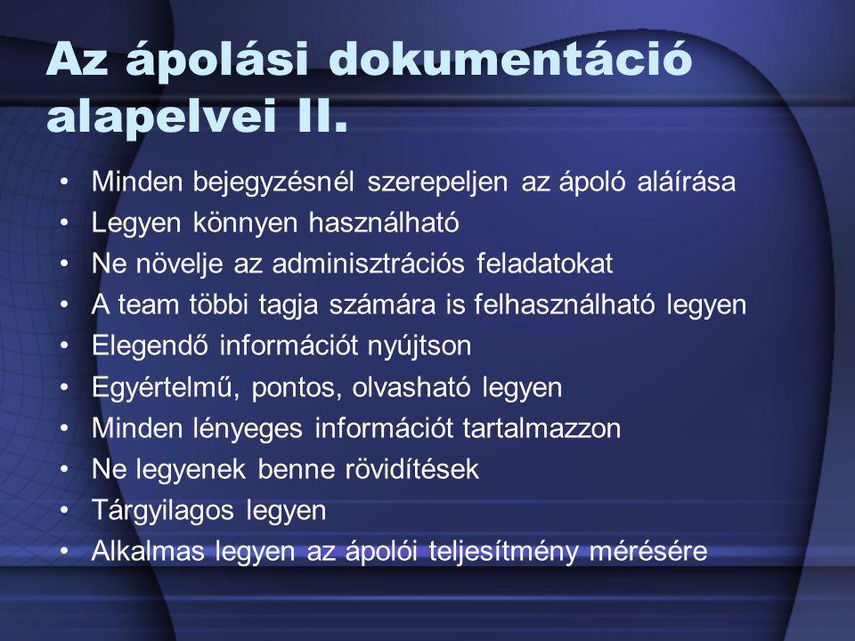 Az ápolási dokumentáció alapelvei II.